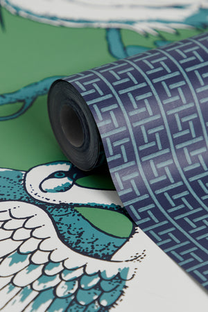 Oriental Filigree Wallpaper - Navy & Green