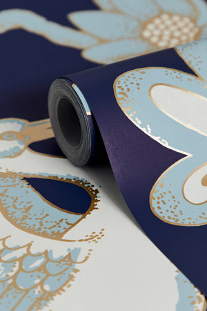 SOLD - SAMPLE SALE - 1 ROLL Egrets Wallpaper - Midnight Blue (25% Saving)
