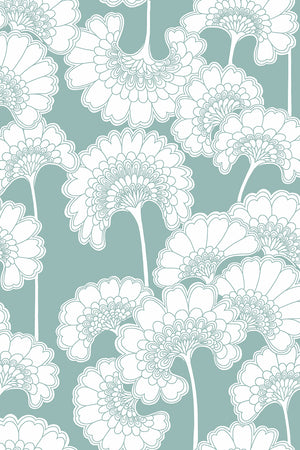 Japanese Floral Wallpaper - Pale Teal