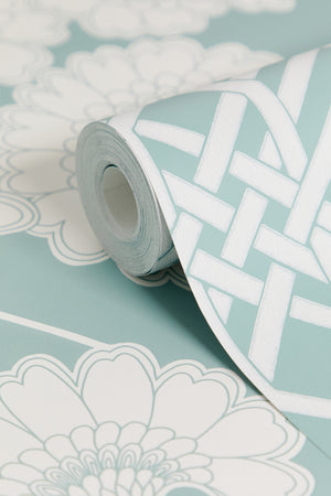 Pagoda Wallpaper - Pale Teal