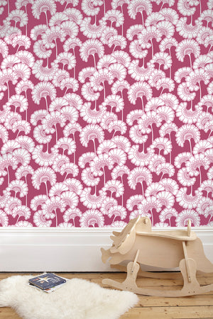 Japanese Floral Wallpaper - Deep Pink