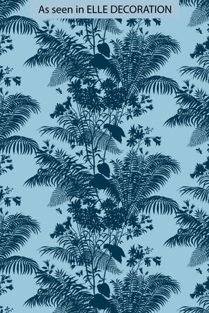 Shadow Floral Velvet Fabric - Baby Blue