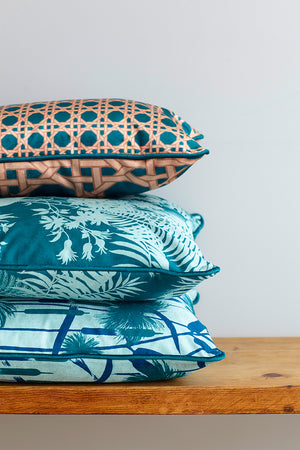 Papyrus Velvet Cushion - Pale Teal