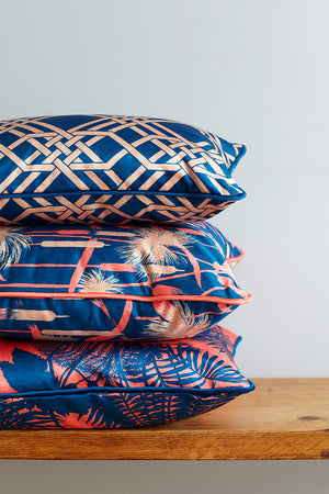 Pagoda Velvet Cushion - Navy