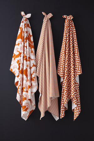 SOLD OUT Cut piece: Japanese Floral Textured Cotton Burnt Orange - 170cm length (40% Saving)