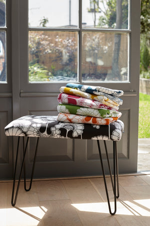 Japanese Floral Occasional Bench - Navy