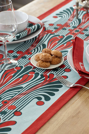 VERY LOW STOCK - French Fountain Napkins - Eau De Nil and Cherry (set of 2)