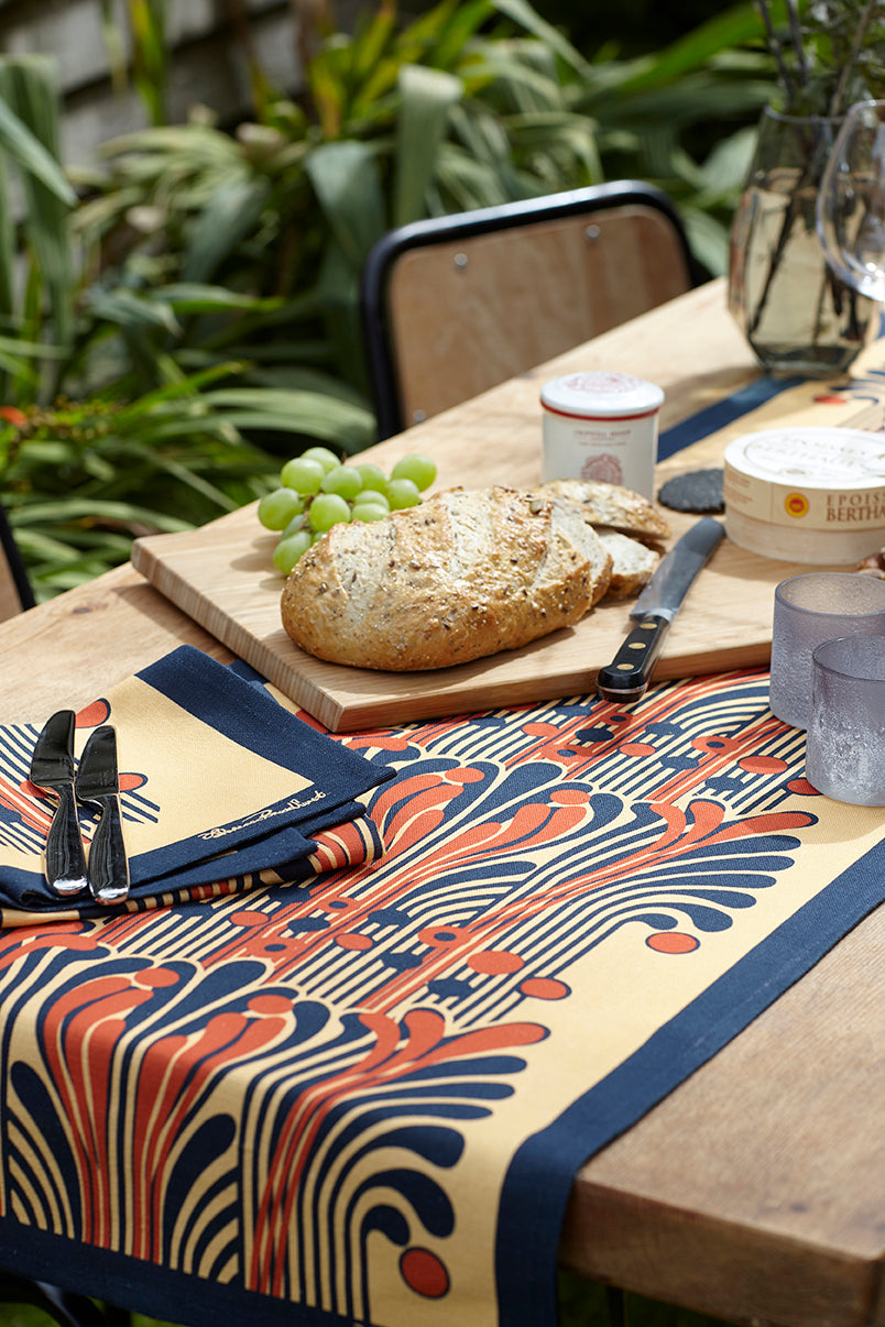 French Fountain Table Runner - Saffron and Navy