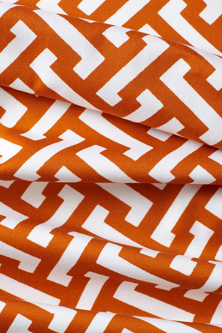 Zig Zag Cotton Fabric - Burnt Orange