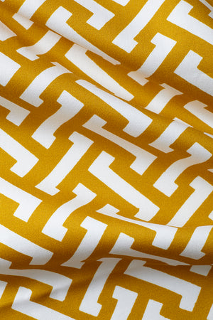 Zig Zag Cotton Fabric - Mustard