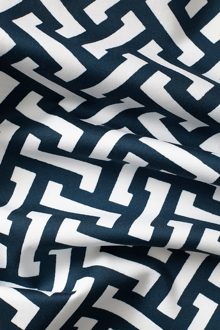 Zig Zag Cotton Fabric - Navy
