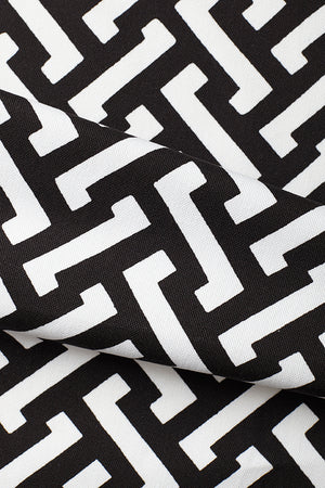 Zig Zag Cotton Fabric - Black