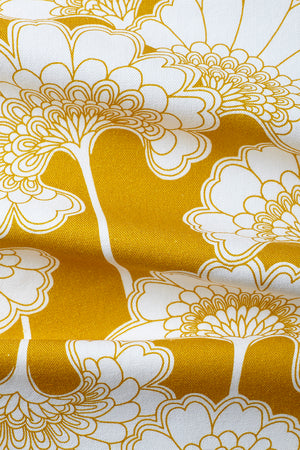 Japanese Floral Cotton Fabric - Mustard