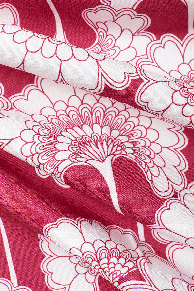 Japanese Floral Cotton Fabric - Deep Pink