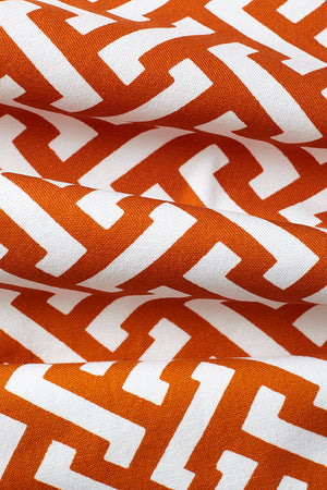 Small Zig Zag Cotton Fabric - Burnt Orange