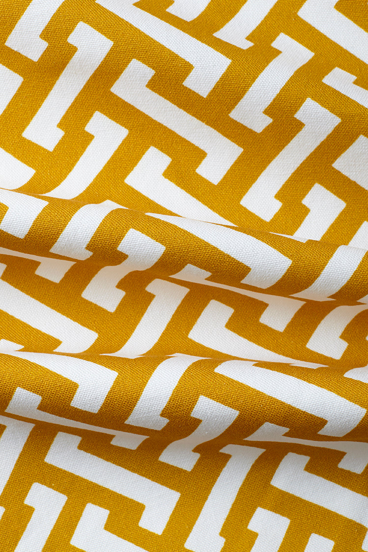 Small Zig Zag Cotton Fabric - Mustard