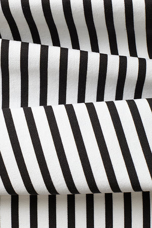 Double Quarter Inch Stripe Cotton Fabric - Black