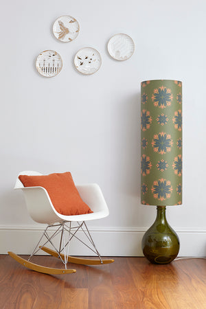 Bingle Floor Lamp - Green with Green Floral Spot Shade