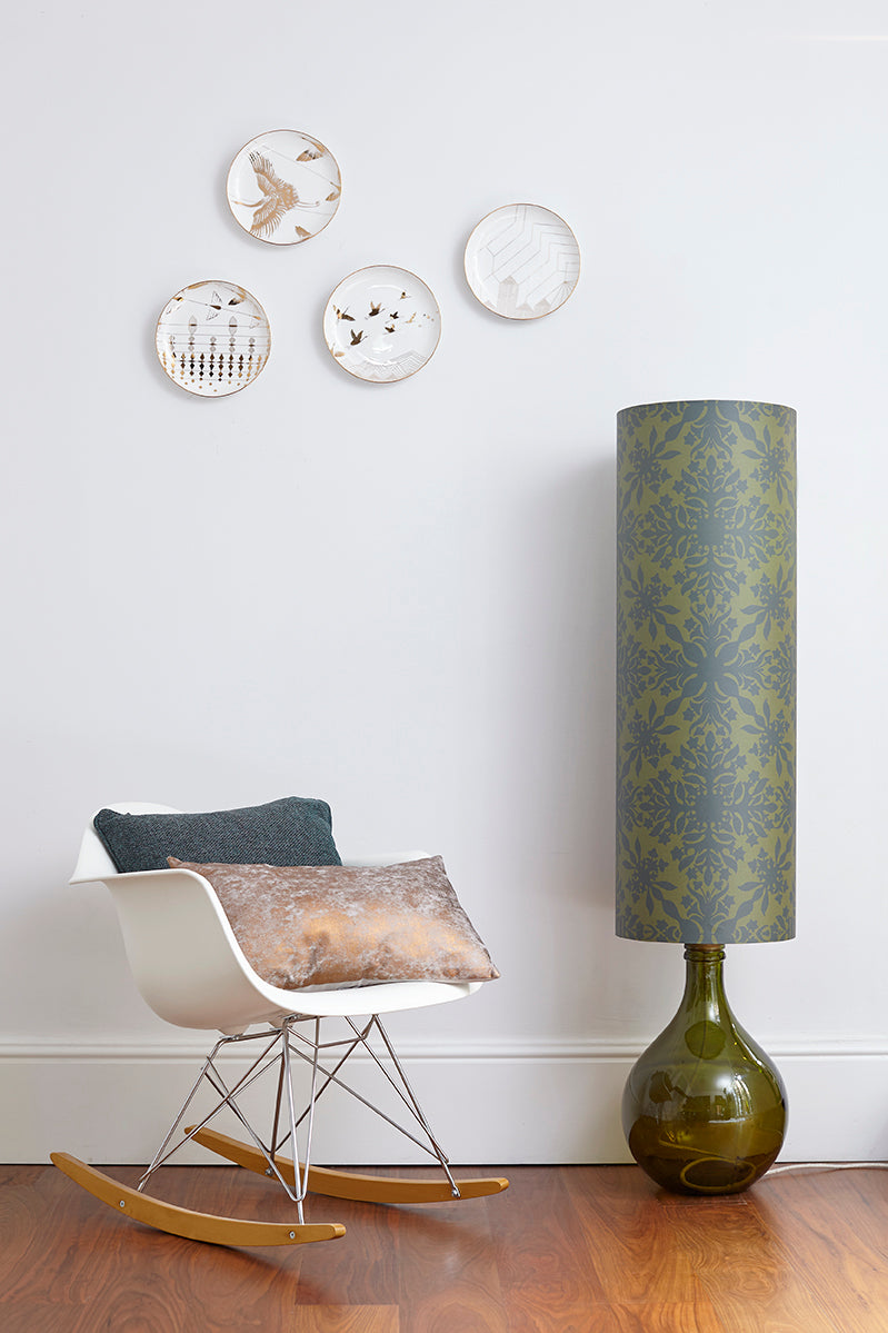 Bingle Floor Lamp - Green with Green Clover Cane Shade - LOW STOCK