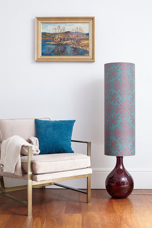 Bingle Floor Lamp - Burgundy with Teal Clover Cane Shade