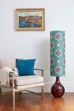 Bingle Floor Lamp - Burgundy with Teal Floral Spot Shade
