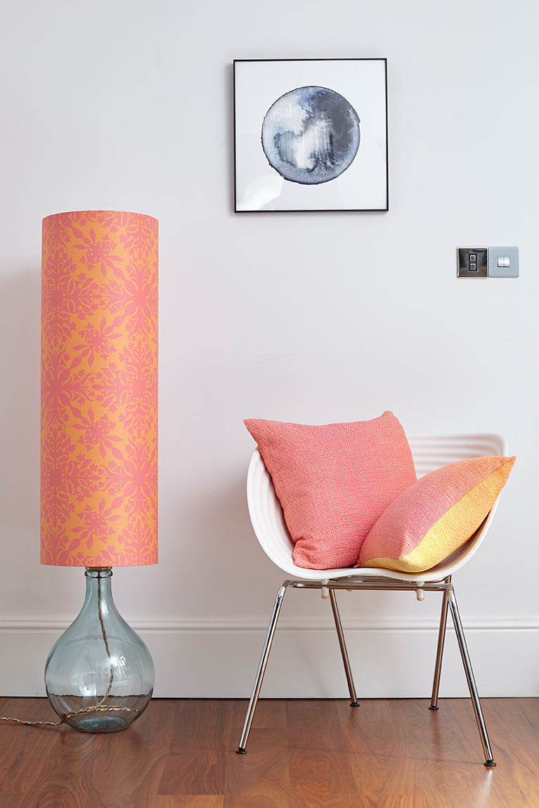 Bingle Floor Lamp - Clear with Orange and Pink Clover Cane Shade (30% Saving)