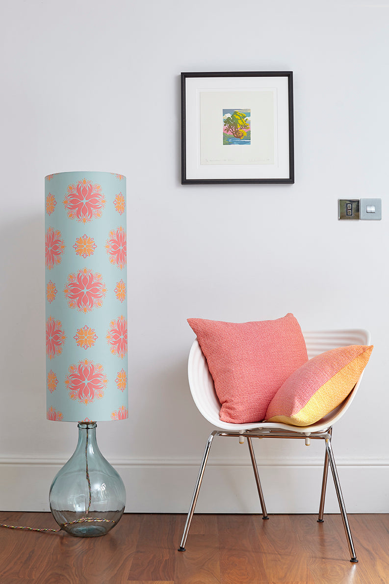 Bingle Floor Lamp  - Clear with Eau de Nil Floral Spot Shade