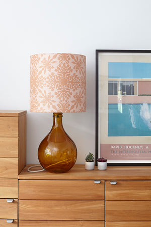 Geyson Table Lamp - Amber with Pink Clover Cane Shade
