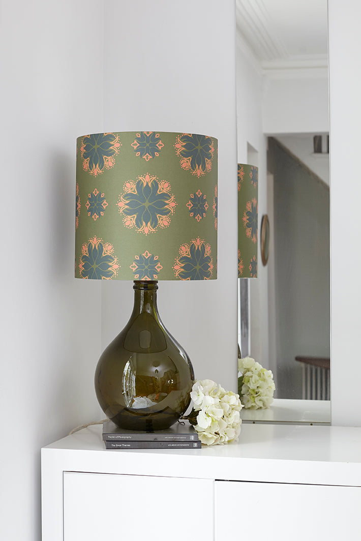 Geyson Table Lamp  - Green with Green Floral Spot Shade - LOW STOCK