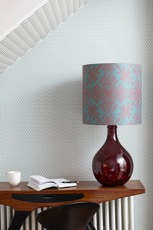 Geyson Table Lamp  -  Burgundy with Teal Clover Cane Shade