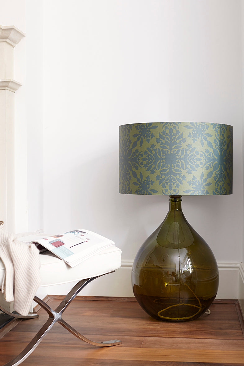Fitzpatrick Floor Lamp - Green with Green Clover Cane Shade