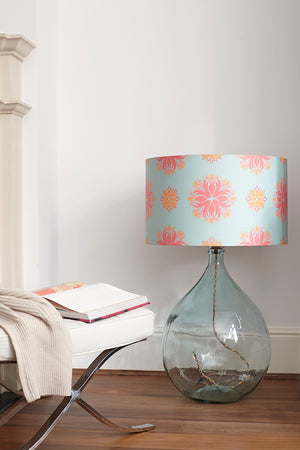Fitzpatrick Floor Lamp - Clear with Eau de Nil Floral Spot Shade