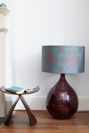Fitzpatrick Floor Lamp - Burgundy with Teal Clover Cane Shade