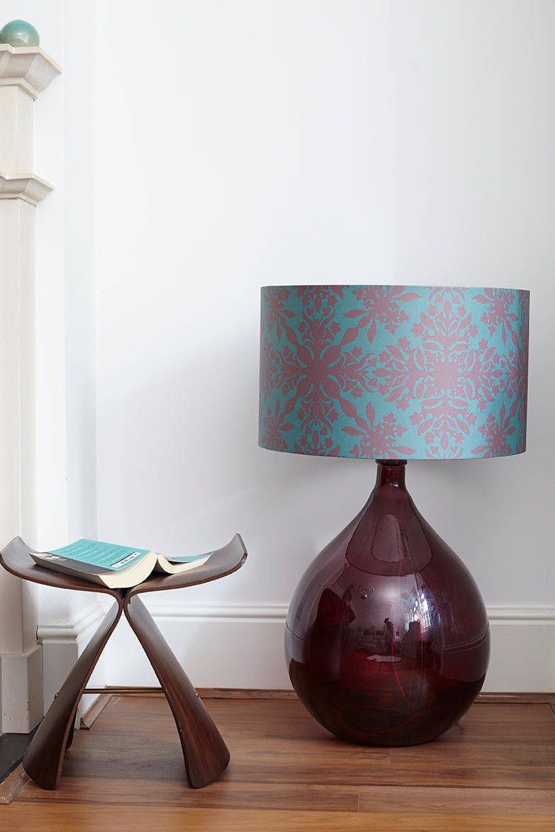 LAST CHANCE TO BUY Fitzpatrick Floor Lamp - Burgundy with Teal Clover Cane Shade (30% Saving)