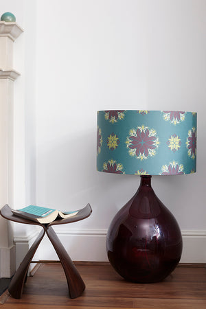 Fitzpatrick Floor Lamp - Burgundy with Teal Floral Spot Shade
