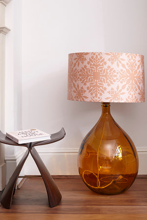 Fitzpatrick Floor Lamp - Amber with Pink Clover Cane Shade