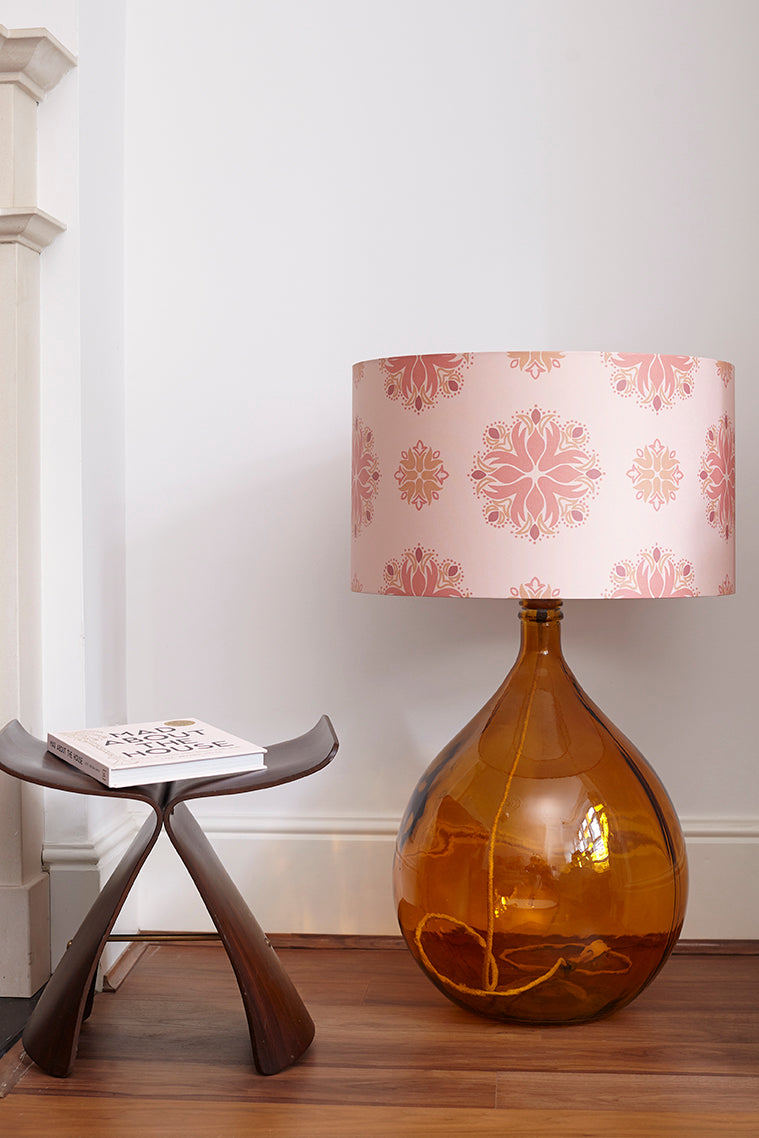 SOLD - SAMPLE SALE - Fitzpatrick Floor Lamp - Amber with Pink Floral Spot Shade