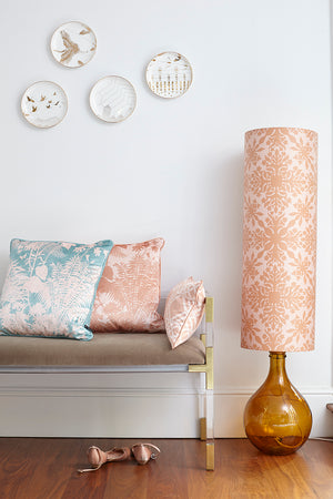 Bingle Floor Lamp - Amber with Pink Clover Cane Shade