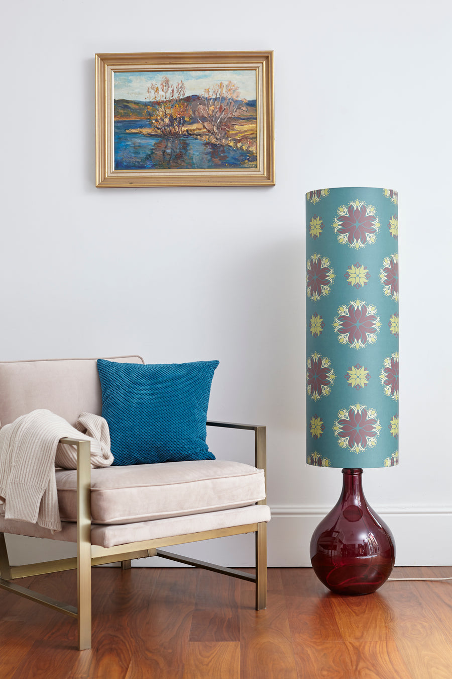 SOLD - LAST CHANCE TO BUY & SAMPLE SALE - Tall Teal Floral Spot LAMPSHADE (with optional lamp base) (50% Saving)