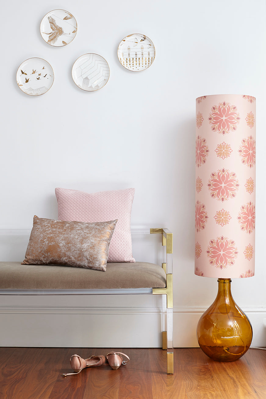 SOLD - SAMPLE SALE Bingle Floor Lamp - Amber with Pink Floral Spot Shade (30% Saving)