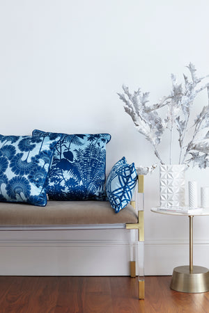 Duet of Velvet Cushions - Baby Blue