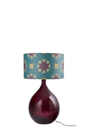 SOLD - LAST CHANCE TO BUY & SAMPLE SALE Fitzpatrick Floor Lamp - Burgundy with Teal Floral Spot Shade (40% Saving)