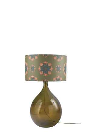 Fitzpatrick Floor Lamp - Green with Green Floral Spot Shade