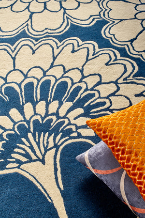 Japanese Floral Hand Tufted Rug - Midnight
