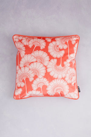 Japanese Floral Velvet Cushion - Coral