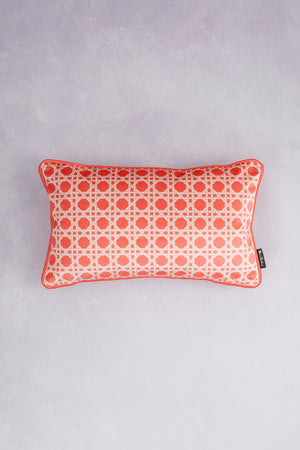 Octagonal Lattice Velvet Cushion - Coral