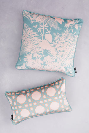 Duet of Velvet Cushions - Pale Teal & Blush