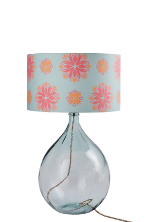 Fitzpatrick Floor Lamp - Clear with Eau de Nil Floral Spot Lampshade (30% Saving)