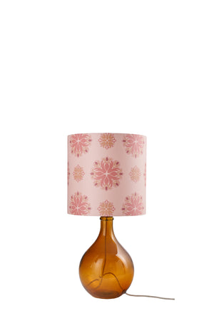 Geyson Table Lamp - Amber with Pink Floral Spot Shade