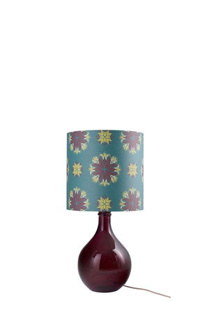 Geyson Table Lamp - Burgundy with Teal Floral Spot Shade